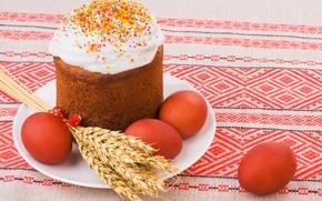 Обои колосья, Еда, Кулич, Яйца, Easter, Пасха, Выпечка, Праздник