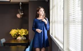 Картинка девушка, лицо, платье, окно
