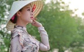 Картинка девушка, лицо, фон, шляпа, профиль