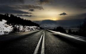 Обои дорога, рассвет, зима