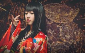 Картинка девушка, стиль, японка, кимоно, азиатка, курительная трубка, кисеру