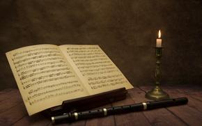 Картинка ноты, музыка, свечи, флейта