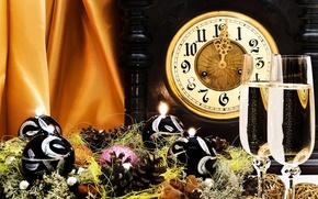 Картинка Часы, Новый год, Украшения, Праздник, Игрушки, Гирлянда