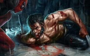 Картинка Нож, Росомаха, Wolverine, Deadpool, Marvel, Дэдпул, Wade Wilson