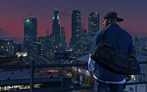 Картинка ночь, город, Grand Theft Auto V, Франклин, Los Santos