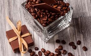 Картинка кофе, шоколад, зерна, вафли, beans, coffee