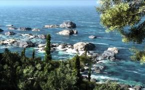 Картинка море, зелень, деревья, пейзаж, камни, арт, солнечно, klontak