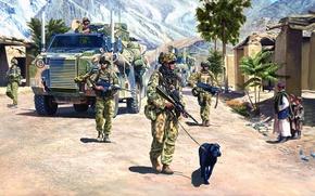 Картинка рисунок, Австралия, Картинка, патруль, Афганистан, Australia, Бронетранспортер, Artist, Operation Slipper, Barry Spicer