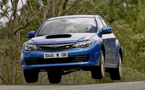 Картинка авто, Subaru, blue, передок, субару, Subaru Impreza WRX Sti