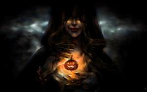 Обои ведьма, девушка, тыква, Halloween, лицо, улыбка, арт, капюшон, праздник, руки