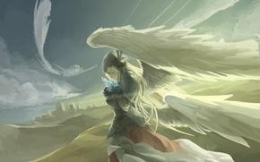 Картинка небо, девушка, облака, крылья, ангел, аниме, арт, avamone