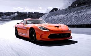 Картинка Dodge, supercar, Viper, sky, speed, orange, track, SRT