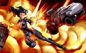Картинка девушка, взрыв, пистолет, explosion, girl, gun, шпион, spy, броневик, armored car, Machines at War, Samantha …