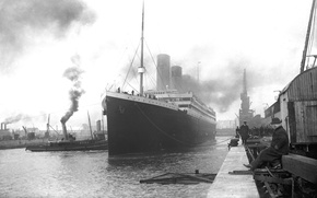 Картинка Titanic, пассажирский, пароход, корабль, RMS, ретро, пристань, Титаник, обои, лайнер, порт, снимок, британский