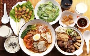 Картинка рис, соус, креветки, японская кухня, блюда, лапша, тофу, шашлычки