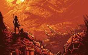 Картинка фантастика, робот, вектор, арт, Star Wars: The Force Awakens, Звёздные войны: Пробуждение силы, Rey