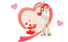 Картинка настроение, праздник, сердце, арт, двое, День Святого Валентина