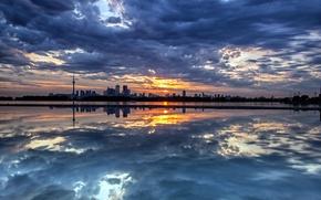 Обои небо, пейзаж, ночь, город