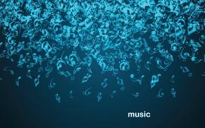 Обои абстракция, темно-синий фон, музыка., гравитация, падение, ноты, музыка, music
