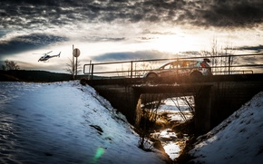 Картинка Солнце, Ford, Небо, Зима, Авто, Мост, Снег, Спорт, Свет, Вертолет, Гонка, WRC, Rally, Ралли, Fiesta