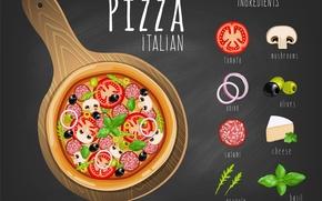 Картинка black, Pizza, italian pizza