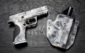 Обои пистолет, кобура, фон, М П, Zephyr Defense, стиль