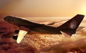 Обои Боинг, Полет, Небо, Boeing, Высота, Облака, 747, Лучи, Закат, Солнце, Самолет