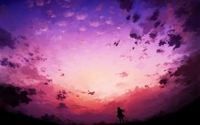 Картинка небо, облака, Девушка, силуэт, арт