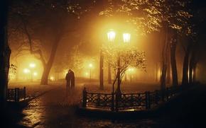 Картинка листья, девушка, свет, деревья, любовь, ночь, природа, город, парк, фон, отдых, обои, настроения, женщина, чувства, ...