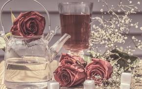 Картинка цветы, стиль, розы, чайник, сахар, натюрморт, гипсофила