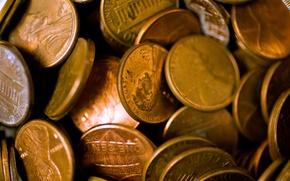 Картинка макро, фон, монеты