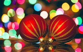 Картинка шарики, Новый Год, праздники, красные, зима, елочные, игрушки, огни, боке, New Year, Christmas, Рождество, декорации