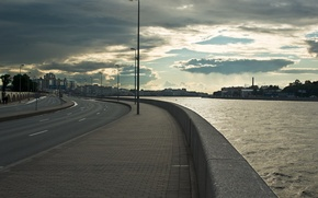 Обои вечер, Санкт-Петербург, набережная, питер, нева, петербург