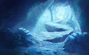 Картинка человек, холод, лед, арт, дорога, пещера