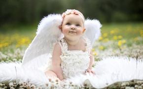 Картинка крылья, ангел, девочка, малышка, веночек, забавная