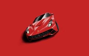 Картинка Ferrari, Red, Supercar, Berlinetta, F12, Minimalistic