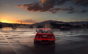 Картинка Silvia, Nissan, Red, Drift, Clouds, Sunset, Tuning, S13, Motion, Competition, Sportcar