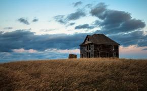 Обои поле, дом, пейзаж