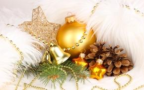 Картинка Новый Год, праздники, игрушки, золотой, елочные, украшения, шишки, New Year, Christmas, шар, колокольчики, Рождество, звезды