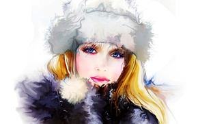 Картинка зима, девушка, лицо, женщина, girl, живопись, woman, beautiful, winter, lips, face, painting, person, губ