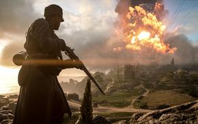 Обои взрыв, Electronic Arts, Battlefield 1, фон, солдат, война