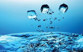 Обои синий, Вода, капли
