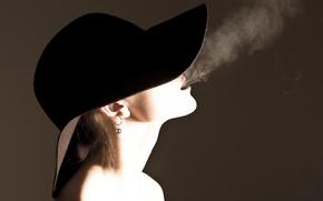 Картинка стиль, шляпы, дым, девушка, настроение, серьга, сигарета, серёжки, серёжка, настроения, курение, шлапа, одежда, украшения, волосы, ...
