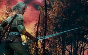 Картинка Ведьмак, Цири, The Witcher 3:Wild Hunt, Burning skies
