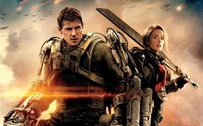 Обои оружие, фантастика, фильм, Том Круз, Эмили Блант, Emily Blunt, Tom Cruise, аммуниция, Edge of Tomorrow, ...