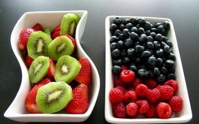 Обои ягоды, малина, киви, фрукты, еда, смородина, клубника
