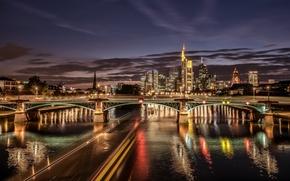 Обои мост, огни, река, здания, Германия, ночной город, Germany, Франкфурт-на-Майне, Frankfurt am Main, Main River, река ...