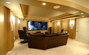 Картинка диван, телевизор, кресла, кинотеатр, interior, home, sofa, домашний, teatr, колонки.