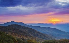 Картинка лес, солнце, облака, горы, рассвет, утро