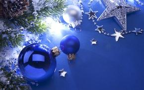 Картинка звезды, шарики, ветки, шары, игрушки, елка, Новый Год, Рождество, белые, Christmas, шишки, синие, синий фон, …